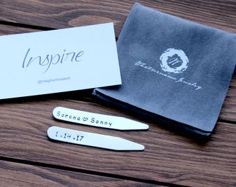 Hand Stamped Collar Stays, Metal Collar Stays, Collar Stays with Names and Date, Personalized Collar Stays, Custom Collar Stays, Silver
