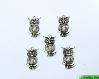 5 30mm x 17mm silver Metal OWL charms