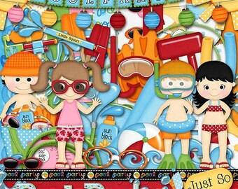 On Sale 50% Off Pool Party Digital Scrapbook Kit - Digital Scrapbooking