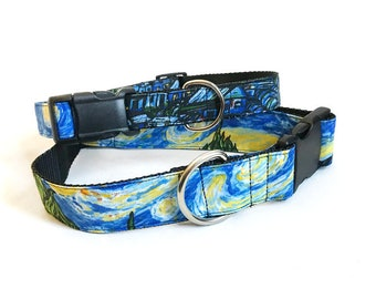 Van Gogh Starry Night! - Handmade MARTINGALE or BUCKLE dog collar