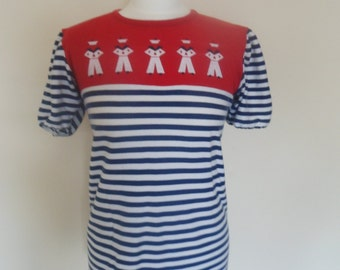 Nautical theme sailor tee red,white and blue