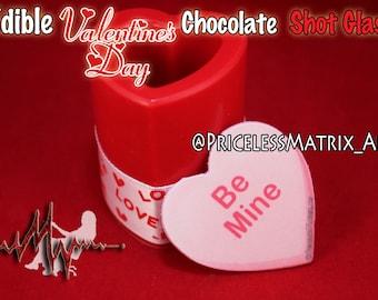 Edible valentine chocolate shot glass, personalizes / Custom design Pricelessmatrix PricelessmatrixArt