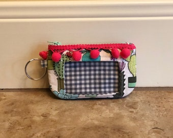 ID Wallet, Keychain, Coin Purse - Cactus Garden with Blue Checkers and Pink Pompom Trim