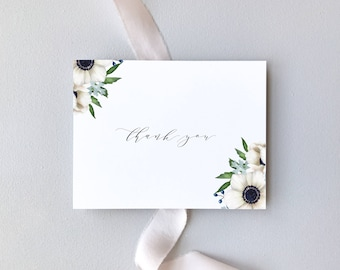 Wedding Thank You Cards / Anemone Floral Wedding Suite / White Flowers & Modern Calligraphy Script / #1132