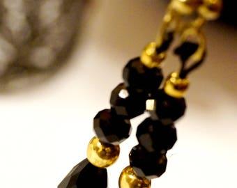 KRAFFITTI - Gold & Black Bead Long Earrings