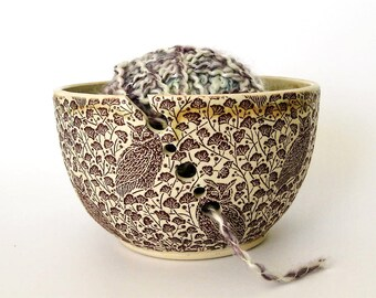 Ceramic Yarn Bowl - Knitting Organizer - Owls - Hand Thrown Ceramic Stoneware Pottery