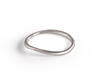 Unique Wedding Band,  14K white Gold Wedding Ring Sculptured By Hand, women Solid Gold wedding Ring. fine jewelry.