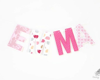 Fabric name garland, name banner, name garland, letter bunting, letter garland, name bunting, name décor, fabric letters on Baker's Twine