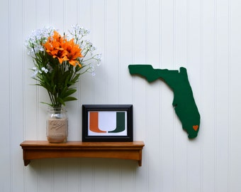 """Miami Hurricanes """"State Heart"""" wall art, handcrafted wood with official team colors"""