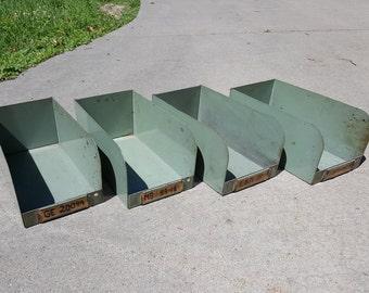 4 Vintage industrial Steel storage bin bins organizers cubbies containers office workshop garage