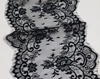 Black lace Trim, French Lace, Chantilly Lace, Bridal lace, Wedding Lace, Garter lace, Evening dress lace, Lingerie Lace by the yard EVSL053C