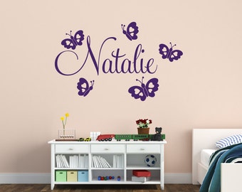 Butterfly Wall Decal - Girls Name Wall Decal - Girls Nursery Wall Decal - Butterfly Wall Decal - Vinyl Wall Decal