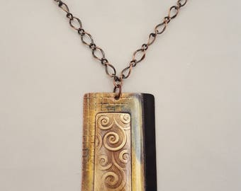 Handrafted Copper Enamel Pendant Necklace