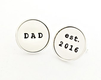 Sterling Silver Dad Cuff Links - Custom Gift for Him, New Daddy, Husband - Personalized Hand Stamped Father's Day Established Date Cufflinks