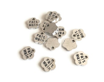 """20 small charms message """"flowers""""hand made silver, 8x8mm"""