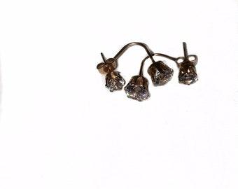 Rose Gold  Double Studs Cubic Zirconia pierced Earrings