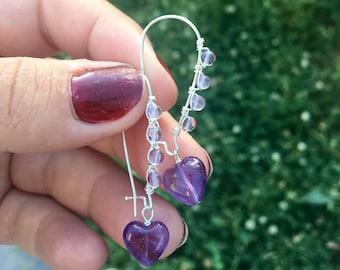 Amethyst earrings / christmas earrings / stocking stuffer / handmade earring