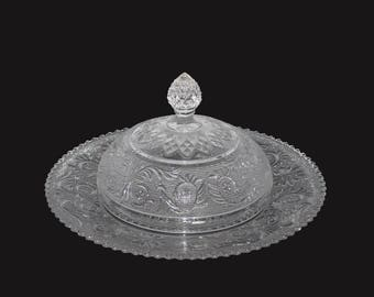 Nice old Vintage Pressed Pattern Glass Covered Butter or Cheese Dish with Dome Lid EAPG