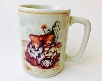 Vintage Otagiri Japan Figi Graphics Southwestern Bears Mug/Otagiri Bear Mug/Southwestern Mug/Vintage Bear Mug/Southwestern Motif/Bears