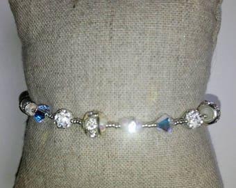 Silver Crystal SWAROVSKI and MIYUKI beads bracelet. Bracelet sirkon. Sterling silver bracelet. Silver jewelry. Vintage bracelet.