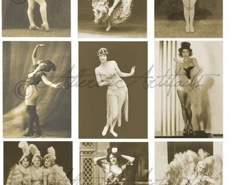 Instant Download Burlesque Show Girls Dancers Vintage Postcard Clip Art Digital Collage Sheet