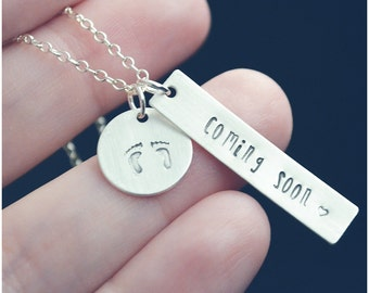 Mom Jewelry - Expecting Mom Gift - Sterling Silver Personalized Necklace - Coming Soon Necklace - New Mom Gift - Baby Shower