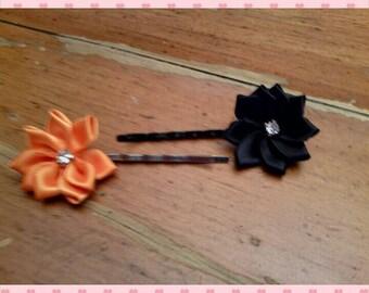 Bobby pins - set of 2 Halloween flowers