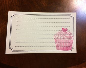Cupcake Recipe Cards // Handmade Recipe Cards // Cooking Accessories // Hand Stamped Recipe Cards // Baking Accessories