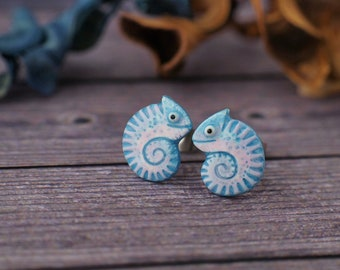Little Chameleon Stud Earrings Lizard Chameleons Earrings 2 Glossy