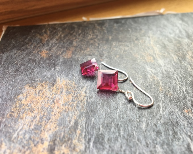Hot Pink Quartz Littles Earrings in Sterling Silver Bridesmaid Gift Healing Chakra Energy Gemstones Inspirational Gift