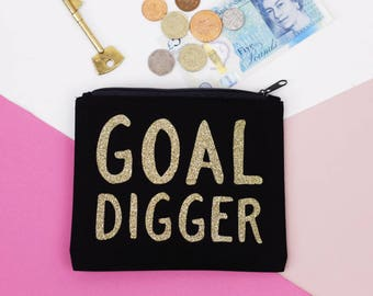 SALE - Coin Purse - Goal Digger - Bag Organiser - Small Makeup Bag - Zipper Pouch - 50% Off - Black and Gold Glitter - Free UK Delivery