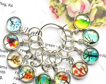 10 Knitting stitch markers Trees cabochon for knitting or crochet