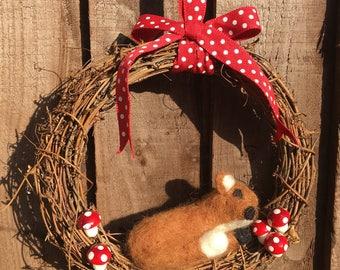 Round twiggy vine valentines wreath with Felt fox and toadstools