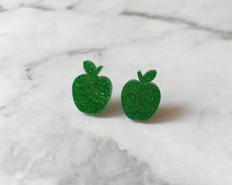 Apple Studs, Apple Earrings, Red Apple Studs, Red Apple Earrings, Green Apple Earrings, Red Glitter Apple, Green Glitter Apple, Red Apple