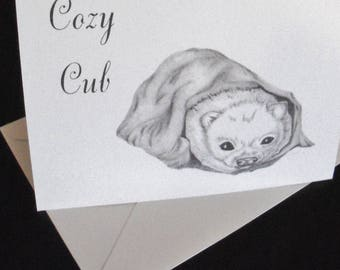 Greeting Cards / Cozy Cub Greeting Cards / Note Cards  / Animal Greeting Cards / Blank Cards / Just Because Cards / Art  N26