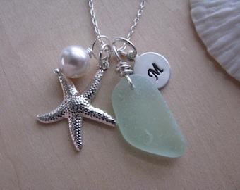 Sea Glass Jewelry Sea Foam Green Sea Glass Pendant with Starfish Aqua Beach Glass Necklace