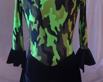 Girls Ice Skating Dress Greem Black Camo Bell Sleeve by 4 Your Child