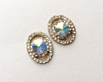Vintage Rhinestone Earrings Stud Earrings 1980's  Sparkling Stones Retro Ear Studs Vintage Jewelry