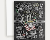 Unique Christmas Card - Egg Nog-  Holiday Chalkboard Card - Hand Lettered Card - Hand Lettered Christmas - Chalk Art Card