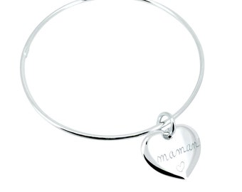Bangle Bracelet with a heart personalized for MOM, sister, girlfriend...