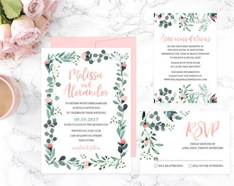 Floral Wedding Invitation Suite, Greenery Wedding Invitation Set, Printable Wedding Invitation, Summer Wedding Invitation Template, GRDWS