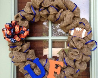 "18"" burlap football wreath"