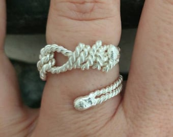 Knot Rope Ring, Sea Inspired Sailor Ring, Sterling Silver