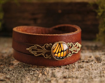Monarch butterfly bracelet, gift for women, birthday gift, brown leather bracelet, orange bracelet, anniversary gift, statement jewelry