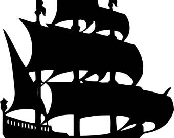 Pirate Ship Galleon vinyl decal - For Cars, Laptops, Sticker, Mirrors, etc.