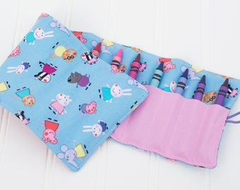 Peppa Pig Crayon Roll, Crayon Holder, Crayon Roll, Toddler Gift, Kid Travel, Birthday Party Gift