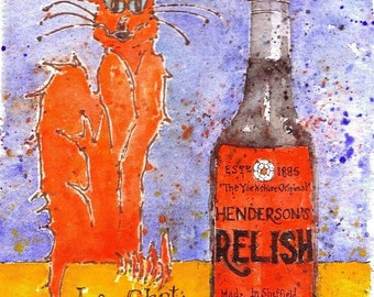 Chat Orange & Hendersons Relish (Sheffield) original watercolour painting