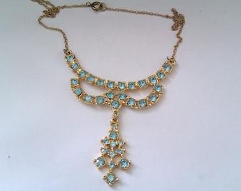 vintage light blue stone pendant necklace