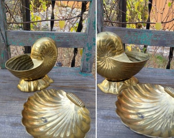 Beautiful LARGE PAIR of Vintage BRASS Nautilus Shell Planter & Scallop Shell Bowl/Trinket or Soap Dish ~ Coastal Living Decor ~ Island Decor