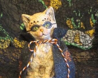 Paper mache Halloween White Cat w/Cape